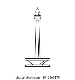 Indonesian monument icon. Outline indonesian monument vector icon for web design isolated on white background