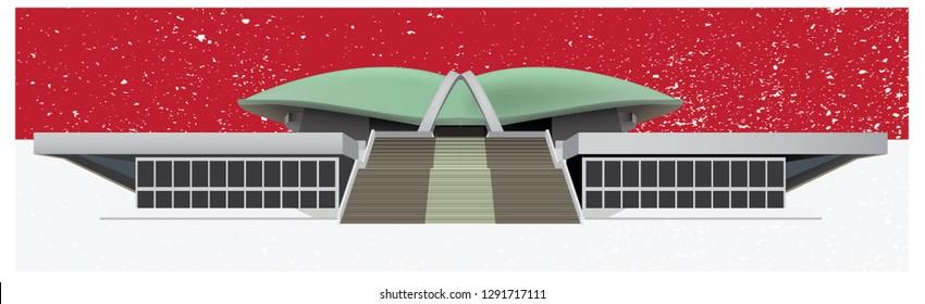 Indonesian parliament building vector