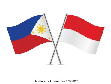 Indonesian and Philippines flags. Vector illustration.