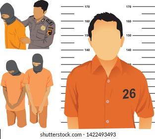 Indonesian police arrest criminals and Criminal mugshots - vector