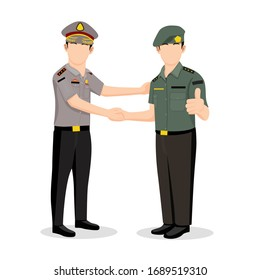 Indonesian police and military army, successful handshake in working together, vector illustration