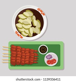 Indonesian traditional food Sate Ayam (chicken satay) with lontong (rice cake) vector illustration