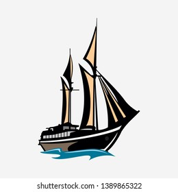 Indonesian traditional ship Phinisi  Vector Illustration
