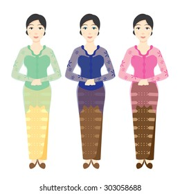 Indonesian Women Wearing Various Color of Kebaya, Isolated Background