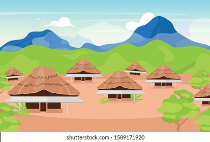 Indonesian wooden houses flat vector illustration. Kajang Leko Jambi. Building in balinese style. Asian traditional primitive cottage. Settlement in mountains. Joglo houses cartoon background