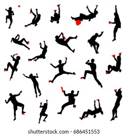 Indoor bouldering. Vector set of climber silhouettes with climbing holds
