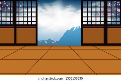 indoor dojo room white fuji mountain in japan