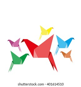 Indoor flight, Origami Birds start to fly in closed space. Vector Illustration