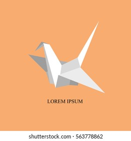 Indoor flight, Origami Birds start to fly in closed space. Vector Illustration