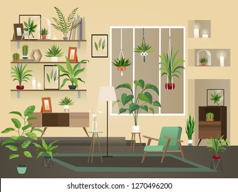 Indoor flowers into room. Urban home interior, vector illustration of living room with plants, chairs and vase