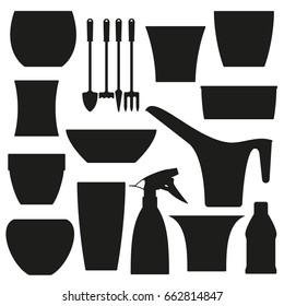 Indoor gardening icons. Flowerpots and tools. Vector illustration.
