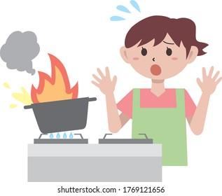 Indoor kitchen fire illustration material