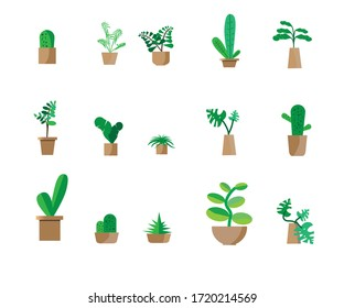 Indoor landscape garden potted plants isolated on white. Vector set green plant in pot.