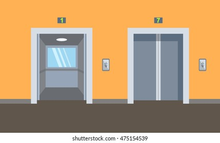 indoor and outdoor elevators in the building. flat vector illustration