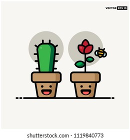 Indoor Plant Vector Illustration with Smiley Face