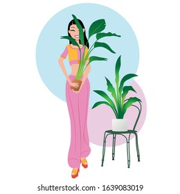 Indoor plants lover. Cute person surrounded by potted flowers. Beautiful woman with houseplants isolated on white background. Vector colour flat illustration.