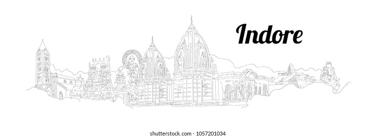 Indore city hand drawing panoramic sketching style illustration