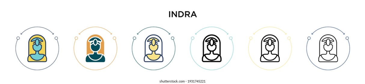 Indra icon in filled, thin line, outline and stroke style. Vector illustration of two colored and black indra vector icons designs can be used for mobile, ui, web