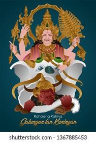 Indra's Victory Against Mayadanawa Hindu Philosophy Story Of Galungan, The Victory Of Good Over Evil In Bali Indonesia, Rahajeng Rahina Galungan Lan Kuningan Means Happy Day Of Galungan And Kuningan