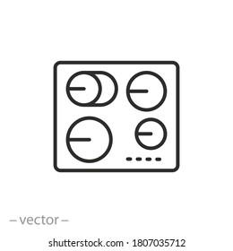 induction hob icon, kitchen electric stove, thin line web symbol on white background - editable stroke vector illustration eps 10