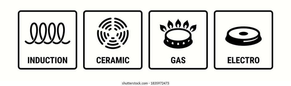 Induction icon, electric hob and gas cooking stove or ceramic oven grate cooker, vector symbol. Induction, electro, gas and ceramic icons, cookware pans surface suitable use logo signs
