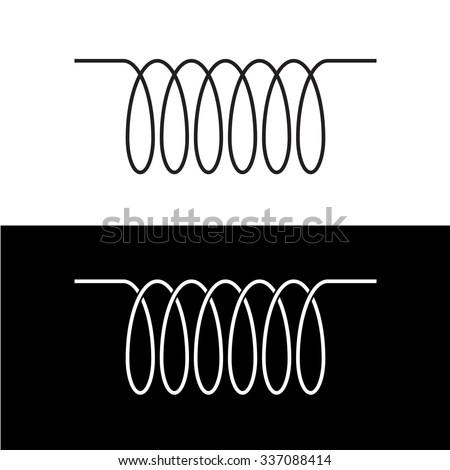 Induction Spiral Electrical Symbol Black Linear Stock-Vektorgrafik ...