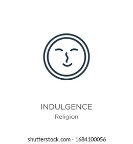 Indulgence icon. Thin linear indulgence outline icon isolated on white background from religion collection. Line vector sign, symbol for web and mobile