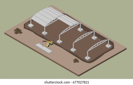 Indusrial warehouse building erection process with machines. ErrIsometric 3D illustration of house construction.