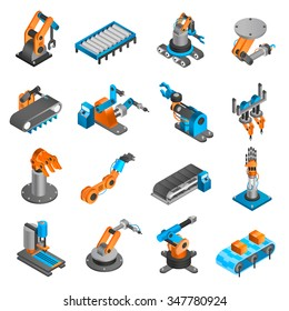 Industial robot and factory machinery 3d isometric icons set isolated vector illustration