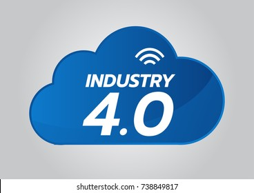 Industrial 4.0 concept, Smart Factory Vector Icon. WiFi Plant illustration. Internet of Things (IoT) Industrial Technology.