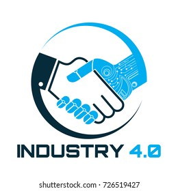Industrial 4.0 Cyber Physical Systems concept,Robot and human holding hand with handshake,Human and technology logo, Partnership with a robot