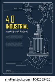 Industrial 4.0 with Robot concept, Robotic hand holding factory company and working in industry. vector design for poster, Brochure and flyer template.