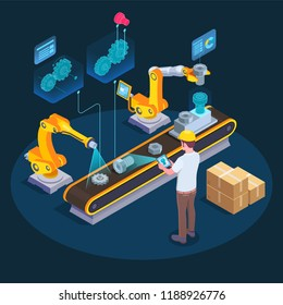 Industrial augmented reality applications isometric composition with computer assisted manufacturing using 3d holographic display technology vector illustration