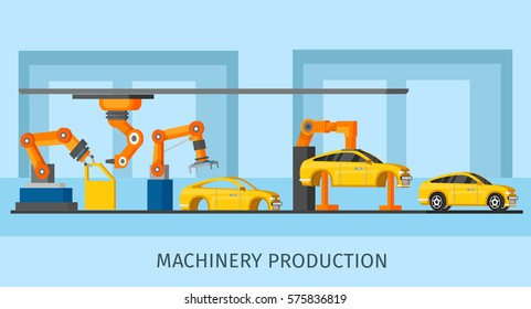 Industrial automated machinery manufacturing template with robotic arms and manipulators working on assembly line vector illustration
