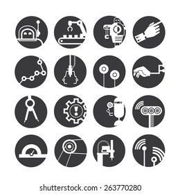 industrial automated robot icons, mechanical engineering icons