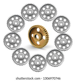 Industrial background. Pulleys on a white background. Metallic sheaves. Belt drive mechanism. Timing pulley.