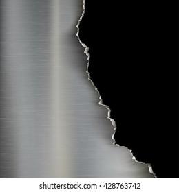 Industrial background of torn metal. Stock vector illustration
