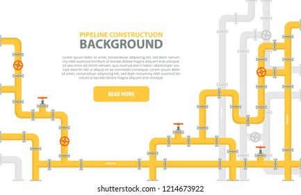 Industrial background with yellow pipeline. Oil, water or gas pipeline with fittings and valves. Web banner template. Vector illustration in a flat style.