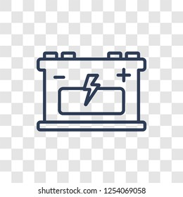 industrial Battery icon. Trendy linear industrial Battery logo concept on transparent background from Industry collection