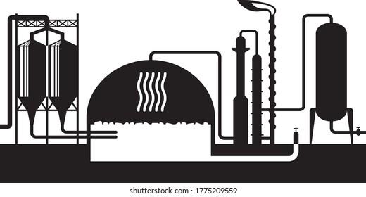Industrial biogas plant – vector illustration