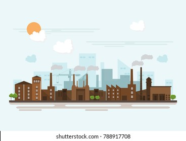 Industrial brick factory in a flat style.Vector and illustration of manufacturing building. Eco style concept.City landscape