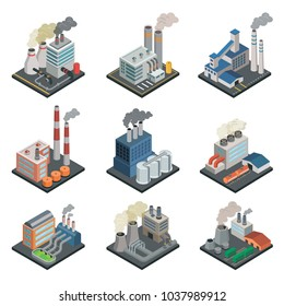 Industrial building factory, chemical plant and power stations with pipes isometric 3D elements. Heavy industry architecture, engineering and manufacturing, environmental pollution vector illustration