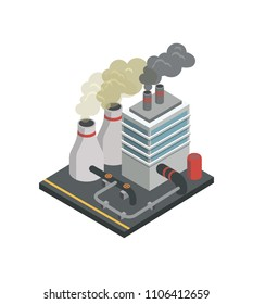 Industrial building factory isometric 3D element. Heavy industry architecture, engineering and manufacturing, environmental pollution vector illustration.