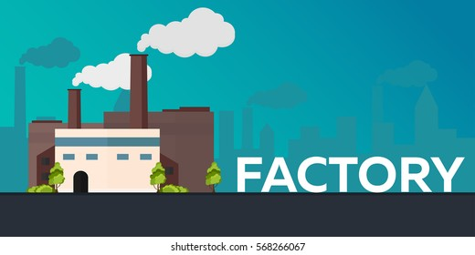 Industrial building factory. Manufacturing. Vector flat illustration
