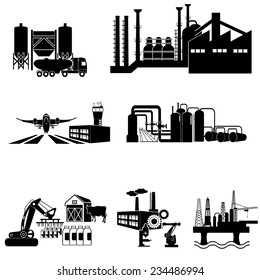 Industrial building factory and  plants icon set