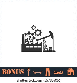Industrial building factory and power plants icon flat. Simple vector symbol and bonus icon