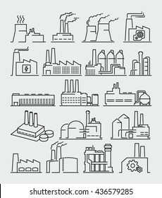 Industrial Building Factory Thin Line Style Vector Icons