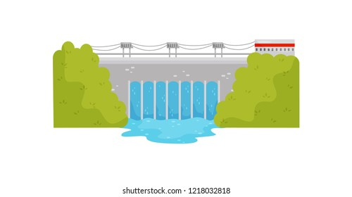 Industrial building of hydroelectric power station on the river. Eco-friendly source of power. Flat vector design