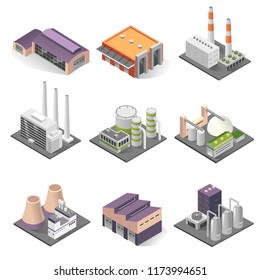 Industrial building isometric set. Factories for manufacturing, repairing, cleaning, washing. Vector 3D industrial building illustration on white background