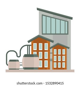 Industrial building unit, factory with reservoir water tanks. Metal roofs and multiple windows. Three story office building, logistic or storage facilities. Vector illustration on white background.